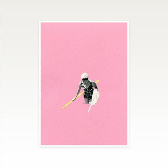 A4 Swimming Pool Art, Pink Wall Art, Summer Decor, Sale Items - Evening Swim