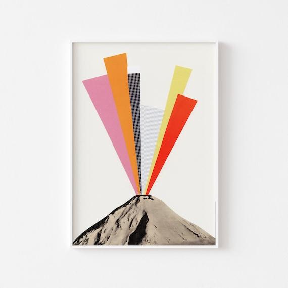 Volcano Art Print, Large Wall Art, Abstract Decor, Nature Print - Eruption