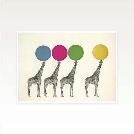 A4 Animal Nursery Art, Giraffe Decor, Circus Art - Balancing Act