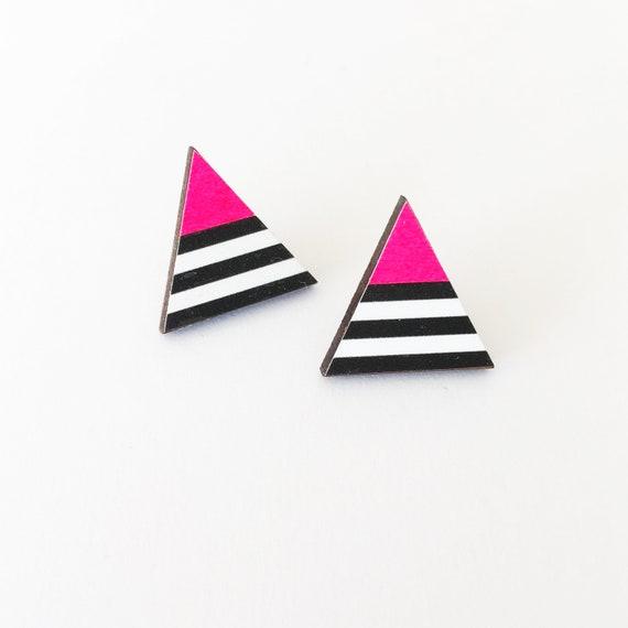 Triangle Earrings, Neon Pink Earrings