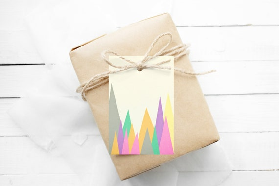Christmas Gift Tags With String, Set of 12 Hang Tags - Pastel Peaks