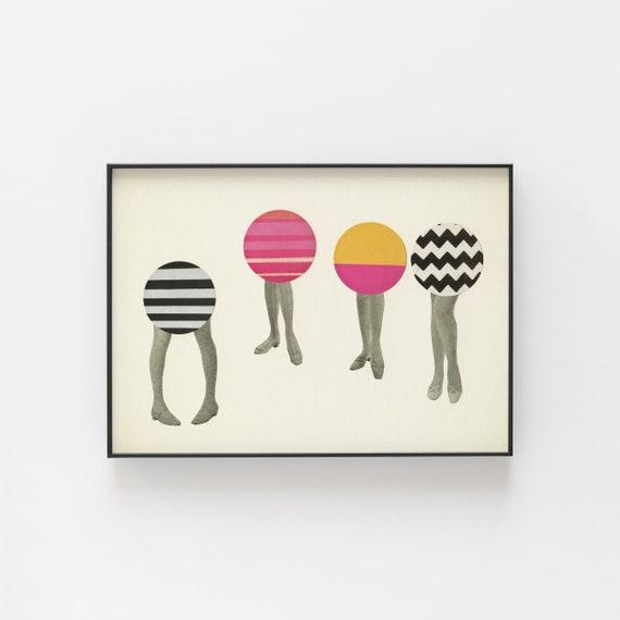 Mod Art, Geometric Portrait, Pop Art Poster - Dancing Feet