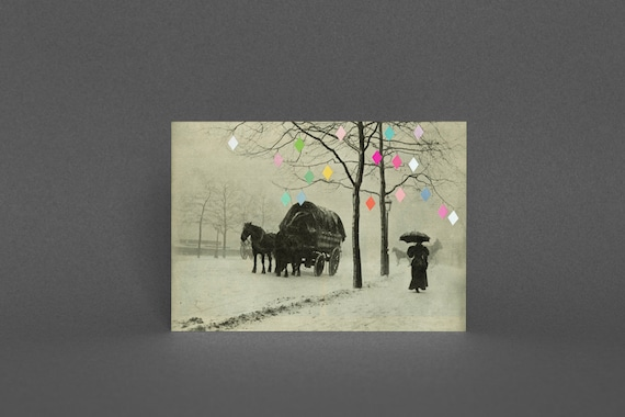 Christmas Card Pack, Vintage Holiday Card - Christmas Day