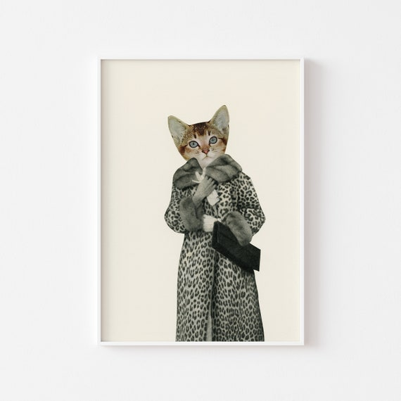 Cat Portrait, Cat Lover Gift, Surreal Art - Kitten Dressed as Cat