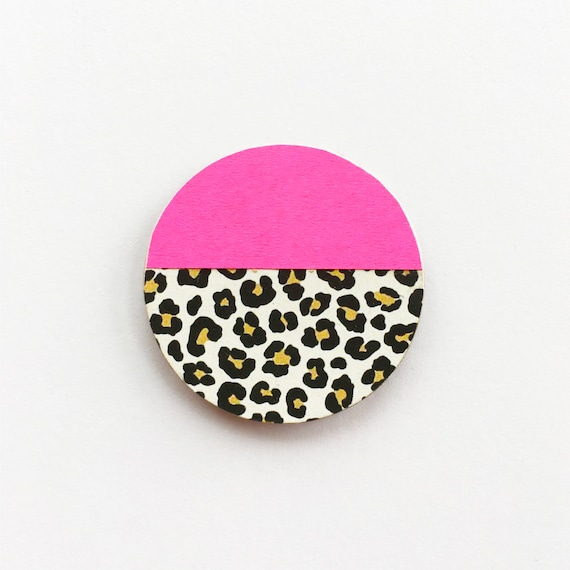 Leopard Print and Neon Pink Wood Brooch