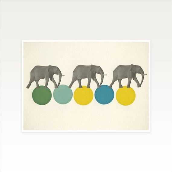 A4 Animal Nursery Art, Elephant Decor, Circus Art - Travelling Elephants