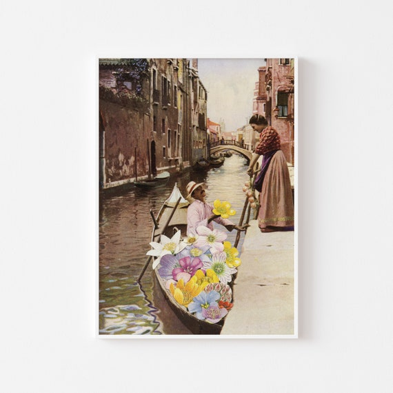 Venice Print, 1st Anniversary Gift, Flower Wall Art - The Suitor II