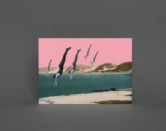 Art Greeting Card, Surreal Art, Blank Greetings Card - Dive