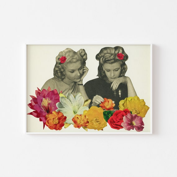 Flower Portrait Art, Surreal Print, Best Friend Gift - Flower Collectors