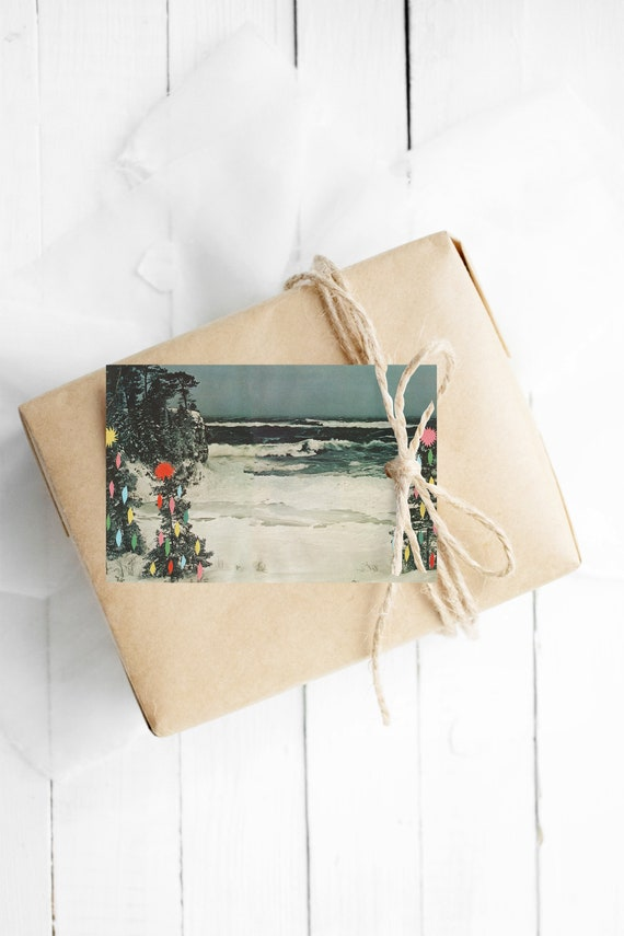 Christmas Gift Tags With String, Set of 12 Hang Tags - Christmas Beach