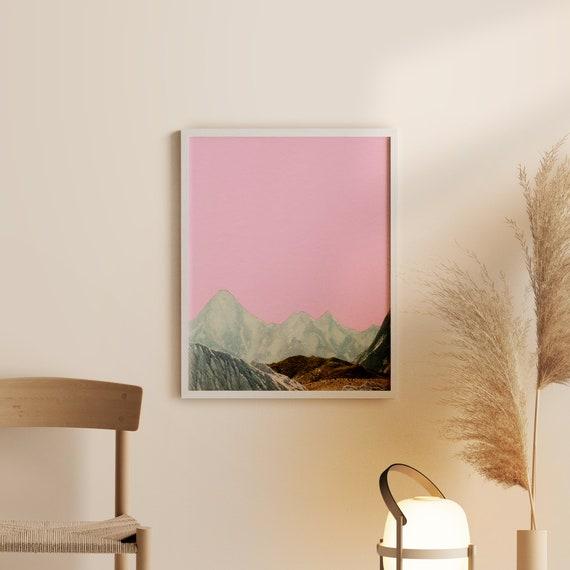 Framed Mountain Print, Pink Wall Art, Ready to Hang - Silent Hills