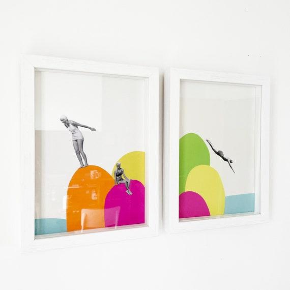 SALE Framed Set of 2 Beach Prints - Summer