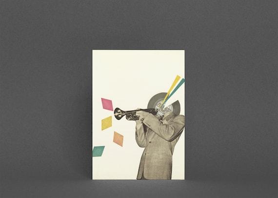 Jazz Music Card, Blank Greetings Card - Blue Note