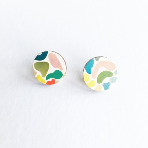 Abstract Earrings, Round Wood Earrings, Circle Studs