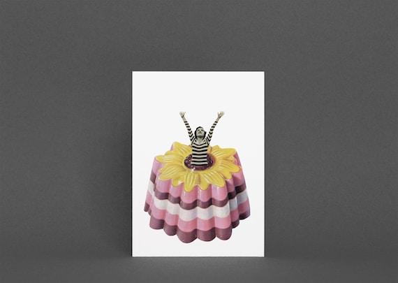 Food Greeting Card, Funny Birthday Card - Blancmange Surprise