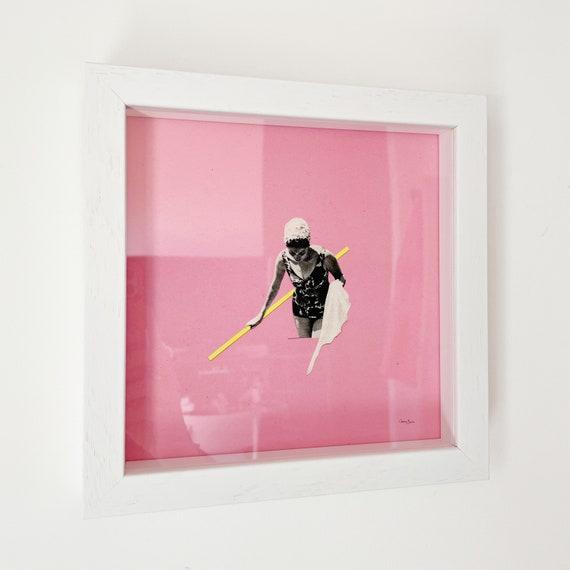 SALE Framed Pink Swimming Pool Print - Evening Swim