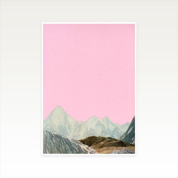 A3 Mountain Print, Pink Wall Art, Sale Items - Silent Hills