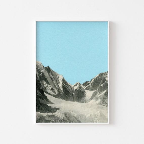 Mountain Print, Blue Wall Art, Home Decor - Blue Skies