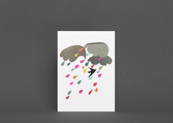 Weather Card, Bird Greetings Card - Windy Day