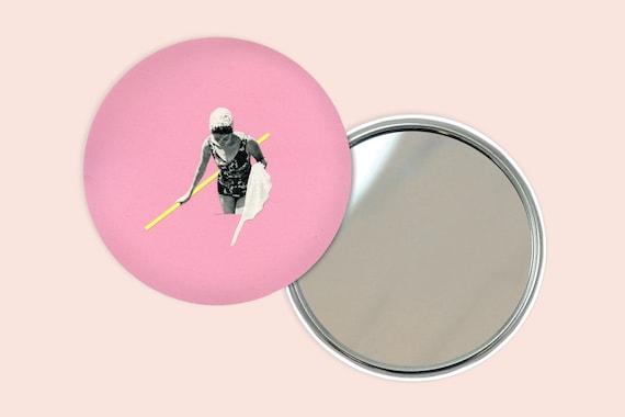 Pink Pocket Mirror 76mm / 3 inches - Evening Swim