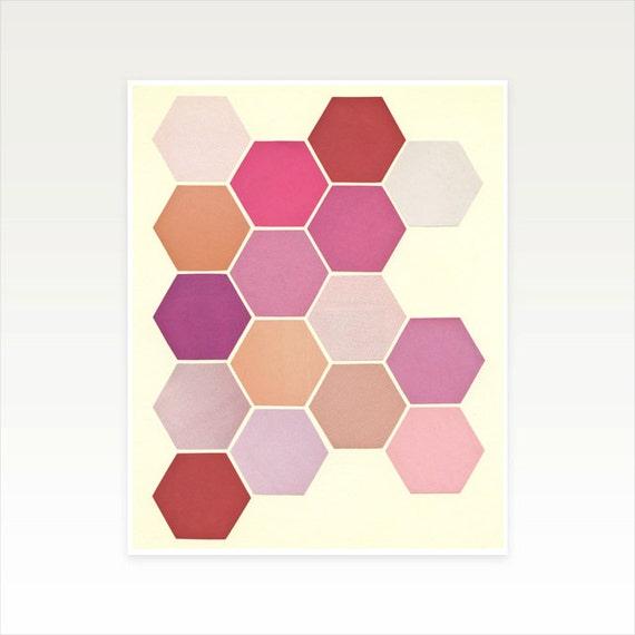 8x10 Inch Pink Wall Art, Geometric Pattern, Mid Century Modern - Shades of Pink