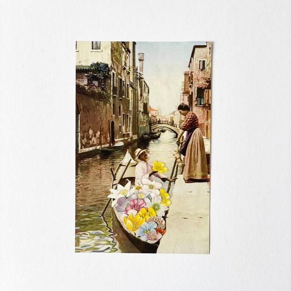 ORIGINAL COLLAGE, Romantic Venice Art, Paper Anniversary Gift - The Suitor II