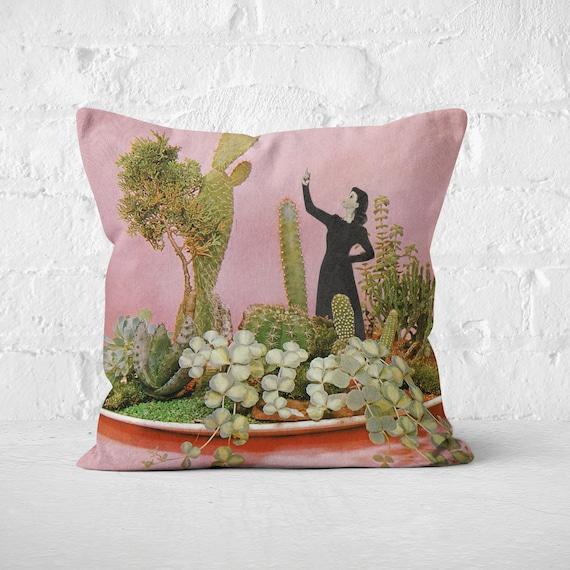 Botanical Velvet Cushion, Boho Decor, Cactus Cushion - The Wonders of Cactus Island
