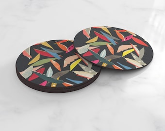 Abstract Coasters, Home Gifts, Tableware - Falling Leaves (Black)