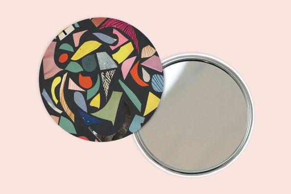 Abstract Pocket Mirror 76mm / 3 inches - Black Terrazzo