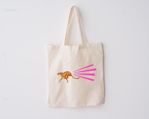 Cat Tote Bag, 100% Organic Cotton - Cheetah