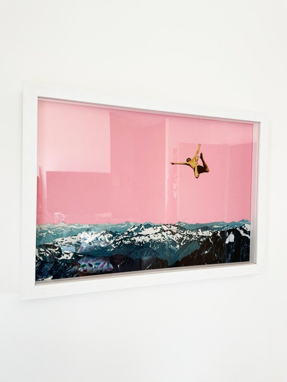 SALE Framed Pink Mountain Print - Higher Than Mountains