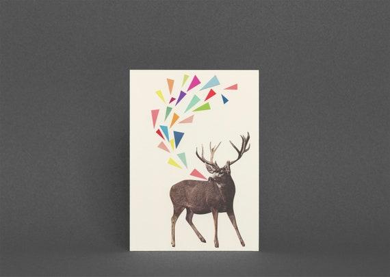 Deer Card, Kids Birthday Card, Music Card - Singing Stag
