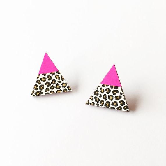 Leopard Print Earrings, Triangle Studs, Modern Earrings