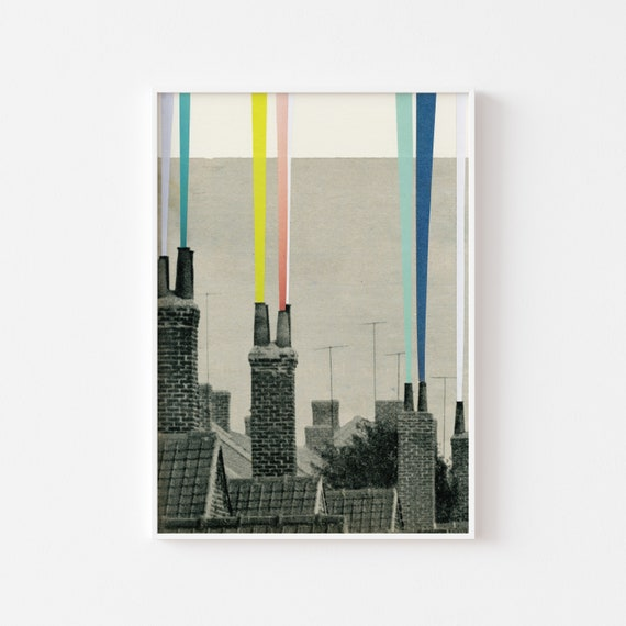 City Art, Urban Wall Art, Grey Wall Decor - Smoke City