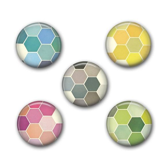Geometric Pin Set, Retro Badges, Designer Gift, Pinback Buttons - The Honeycomb Set