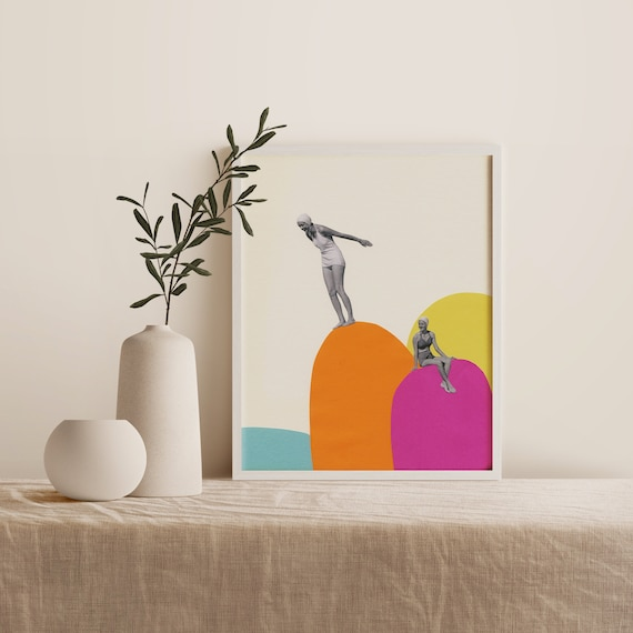 Framed Beach Print, Mid Century Wall Art, Colourful Ready to Hang Art - Cliff Diving