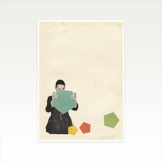 A5 Male Portrait, Geometric Decor, Boyfriend Gift, Sale Items - Discovering New Shapes
