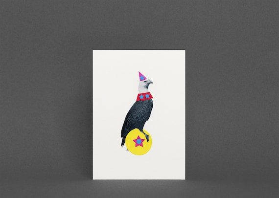 Eagle Card, Blank Bird Greeting Card - The Fantastic Animal Circus Part 2