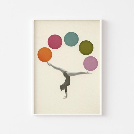 Gymnastics Print, Circus Art, Sports Art, Female Portrait - Gymnastics