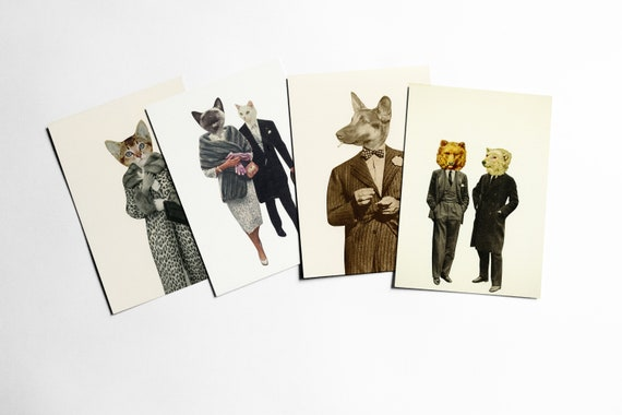 Animal Postcards, Affordable Art, Modern Stationery, Gift Ideas - Play it Cool