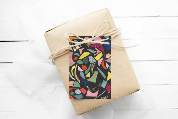 Modern Gift Tags, Hang Tags With String - Terrazzo (Black)