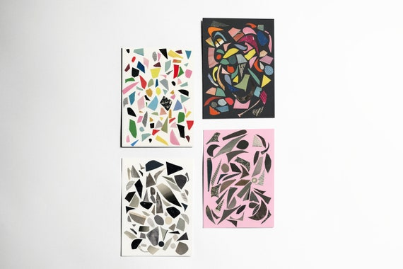 Art Postcards With Envelopes, Affordable Art, Modern Stationery, Gift Ideas - Terrazzo