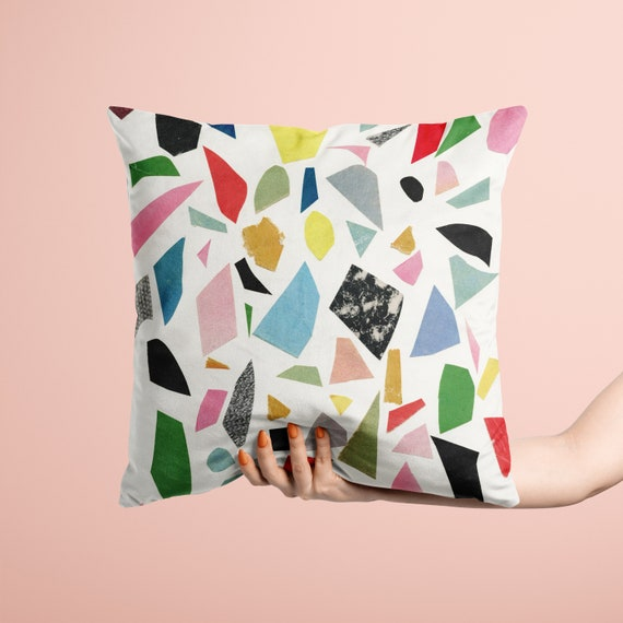Modern Velvet Cushion, Mid Century Home Decor - White Terrazzo