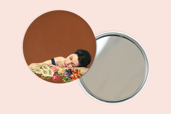 Flower Portrait Pocket Mirror 76mm / 3 inches - Remember Summer