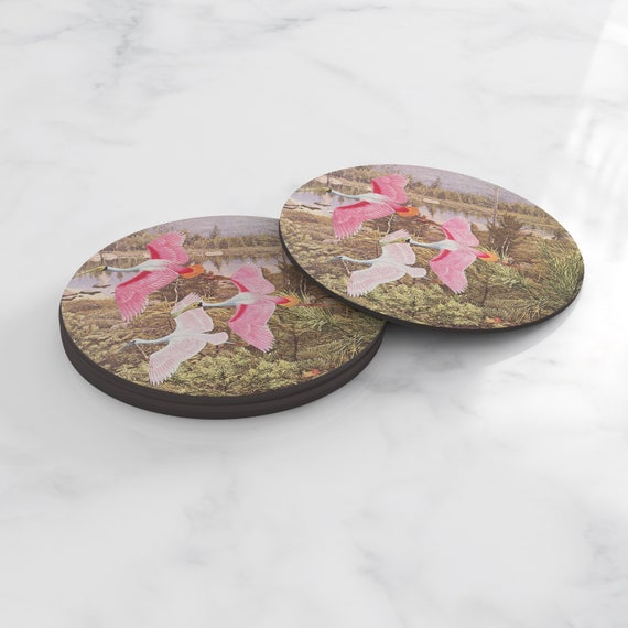 Bird Coasters, Nature Home Gifts, Tableware - Flight of the Spoonbills