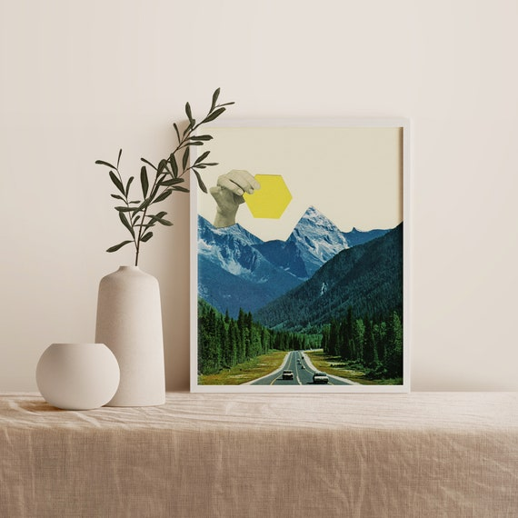 Framed Mountain Print, Collage Wall Art, Ready to Hang - Moving Mountains