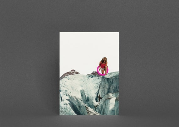 Mountain Card, Surreal Collage Art, Blank Greetings Card - Another World
