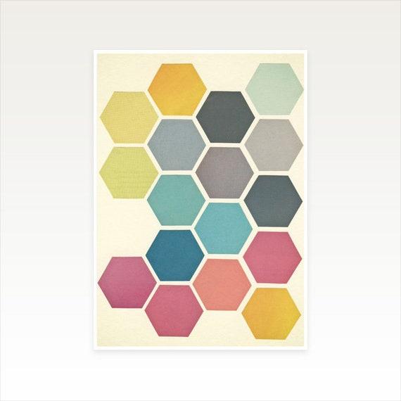 A4 Honeycomb Print, Geometric Decor, Clearance Sale - Honeycomb II