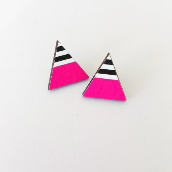 Neon Pink and Monochrome Stripe Earrings