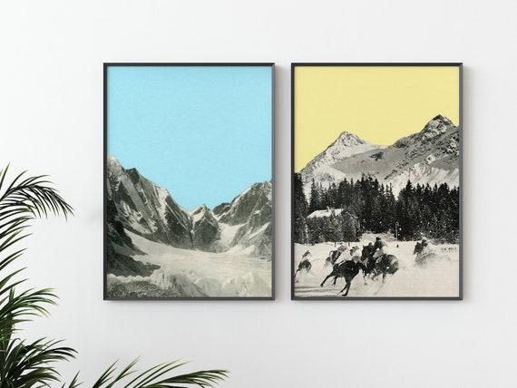 Mountain Print Set of 2, Landscape Wall Art - Winter Mountains